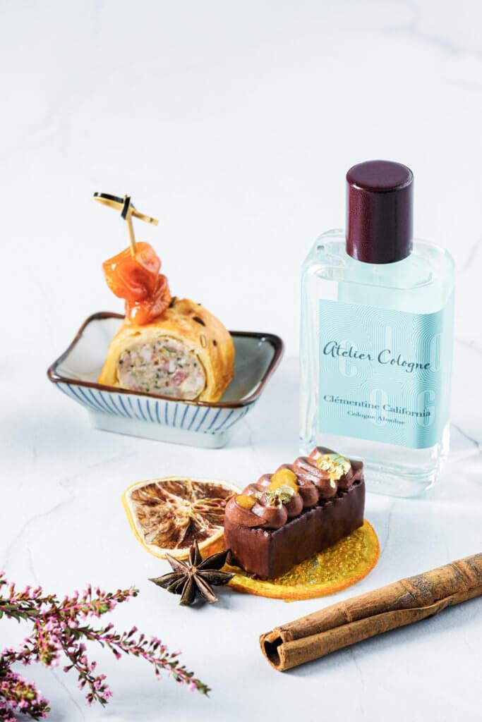 從Clementine California香水得到靈感的聖誕樹頭蛋糕和烤焗鴨肉栗子意大利煙腩肉卷