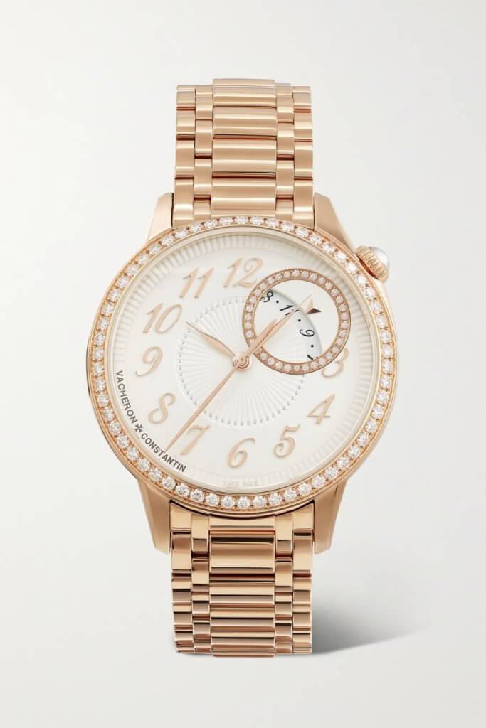 VACHERON CONSTANTIN EGERIE DIAMOND WATCH $326,000 品牌最近為Egerie系列添上新作,賦予全新18K 5N粉紅金錶鏈,光澤動人、柔軟細膩,猶如「第二層肌膚」般貼合手腕,但舒適自然得來,不失一份力量,大大提升女人的自信。值得一提的是,首十枚腕錶全金款先在Net-a-Porter購物平台獨家發售,然後全球專賣店販售,可見品牌對線上購物相當重視。