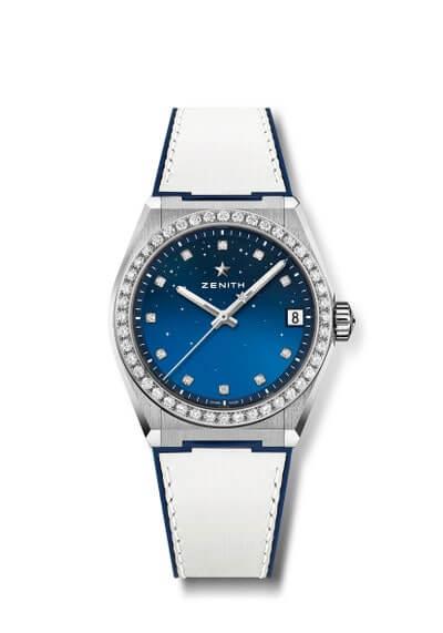 ZENITH DEFY MIDNIGHT $83,800 品牌在今年推出了專為女性設計的全新Defy Midnight系列腕錶,這可是標誌性的Defy系列腕錶的延伸。當中配備三十毫米精鋼錶殼,錶盤鑲嵌十一顆明亮式切割鑽石,錶盤經過亮面處理,以垂直漸變效果帶來獨特視覺感受,如同無盡地平線之上的浩瀚宇宙,繁星閃爍,在黑夜中引人注目。