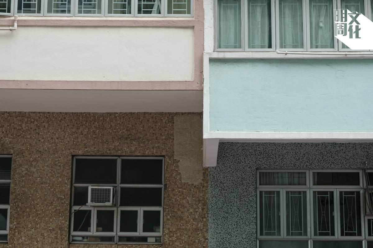 不少樓宇都用上現時少見的紙皮石外牆