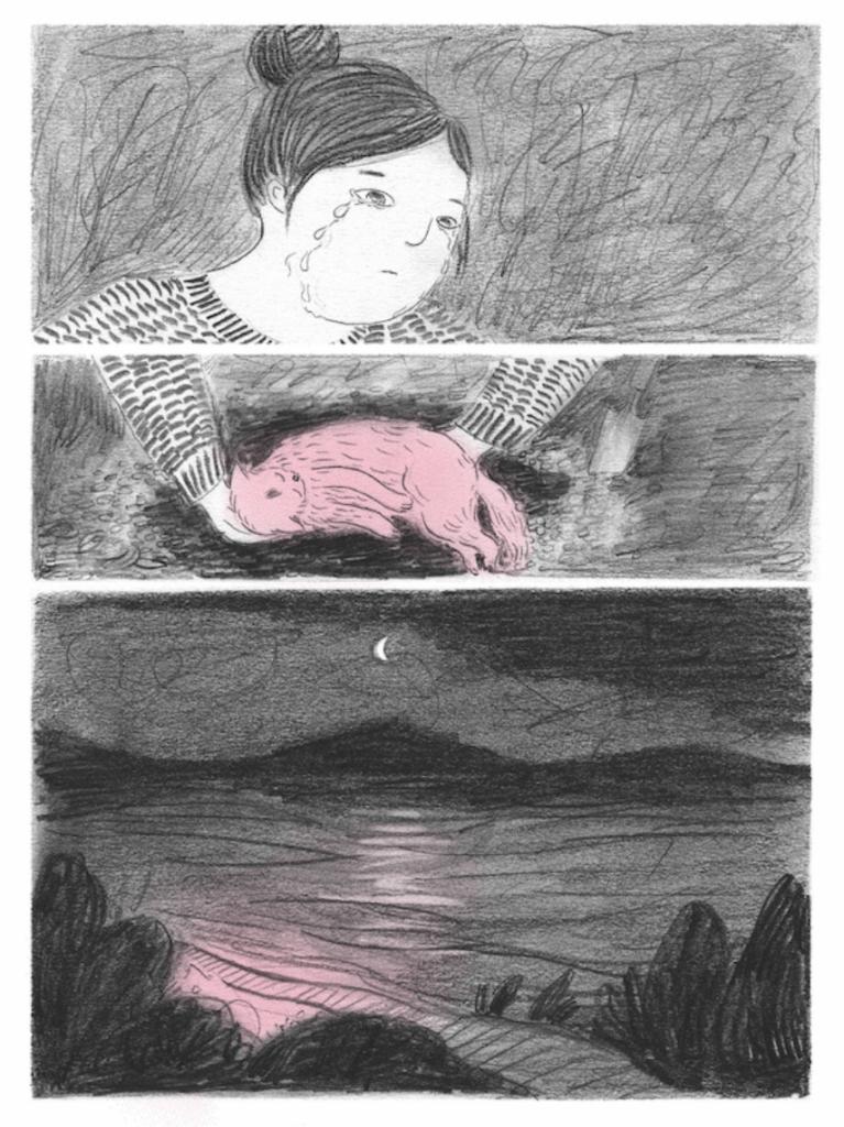 及至結局,主角默然落淚,打開紅色箱子,才揭曉二人是在找地方埋葬逝去的愛貓。