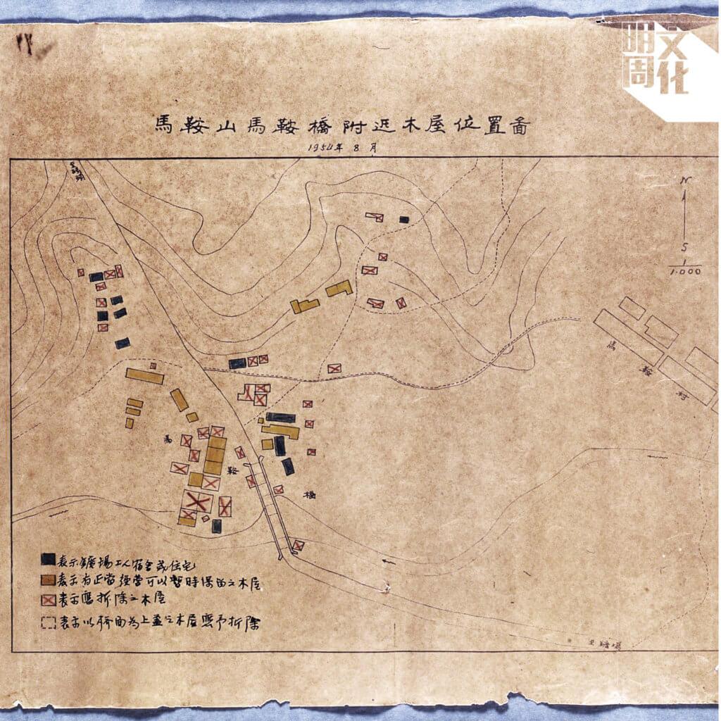 1954年馬鞍山上的木屋地圖,不少已列為應拆除的建築。(圖片由香港文化博物館提供)