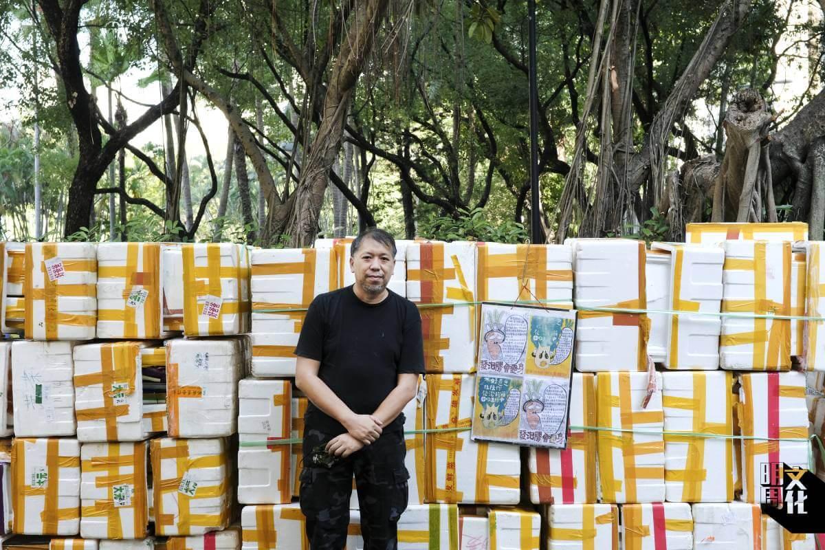 藝術家程展緯一向關心勞工和清潔工,近來着手研究翠屏街市的回收生態。