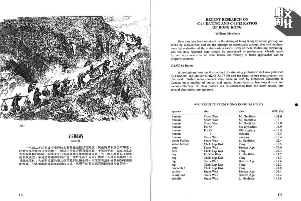文中還加入1859年登載於英國《Illustrated London News》的插圖,描繪昔日的人走山路的情況,而這些山路正是今日的古道。(會刊由香港考古學會提供)