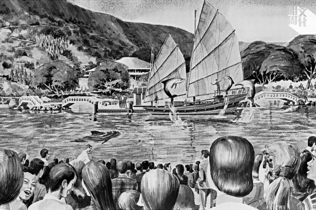 昔日畫上海洋公園的畫上,中式帆船的海洋劇場,海豚飛躍,園方一直堅持動物表演,聲稱是為了保育與教育。(圖片由政府新聞處提供)
