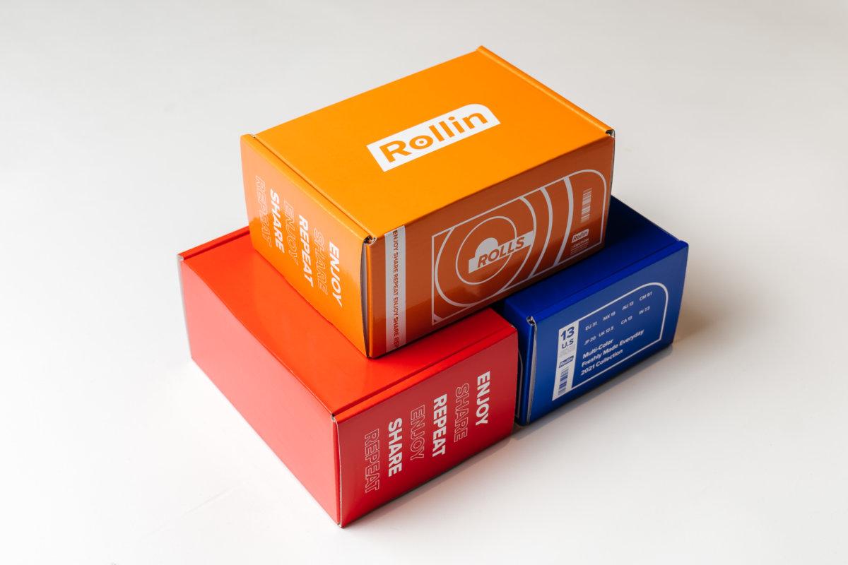 以簡便型格的運動鞋盒盛載飯卷,非常方便易攜!