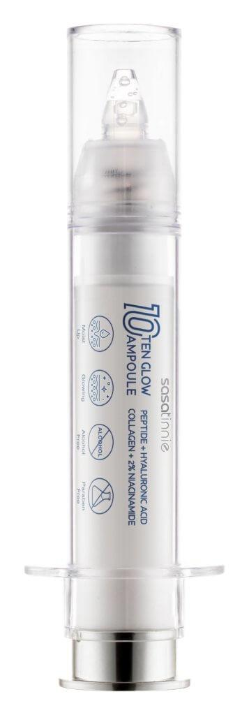 Sasatinnie TEN GLOW AMPOULE 全效⽔潤透光精華 $132/ 10ml 早晚潔⾯及爽膚後,將適量塗在⾯部及頸部,輕輕按摩直到完全吸收。精華通過補充透明質酸、六胜肽和煙醯胺,達到保濕、提亮膚⾊和抗皺緊緻的功效。