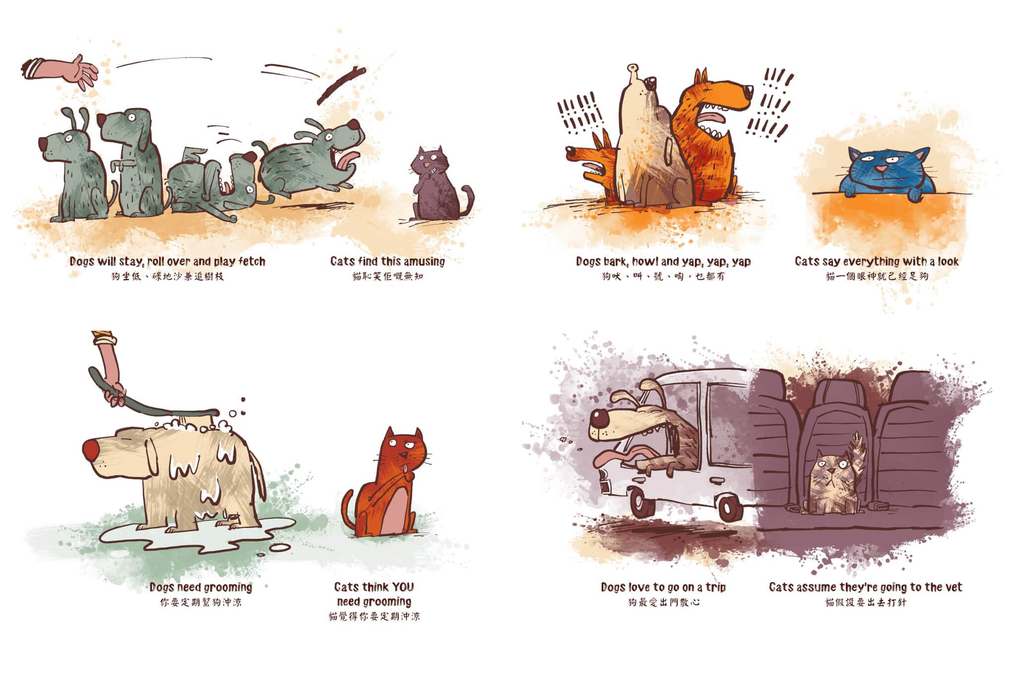 書中還包括有關貓的有趣資料,如貓狗大比對
