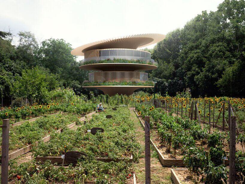 花瓣狀屋頂為可旋轉的動態太陽能面板。