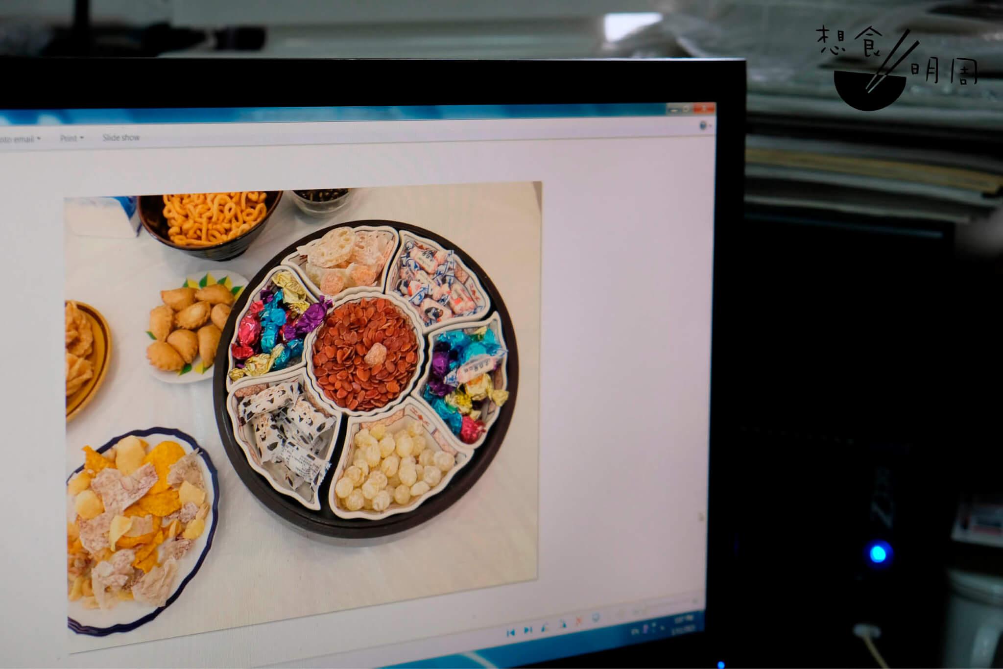 打開電腦,找來了前幾年的影片,那在父親家裏的全盒正是七子圍碗。每格放一款瓜子、糖果、小食,這樣的味道才算過年。