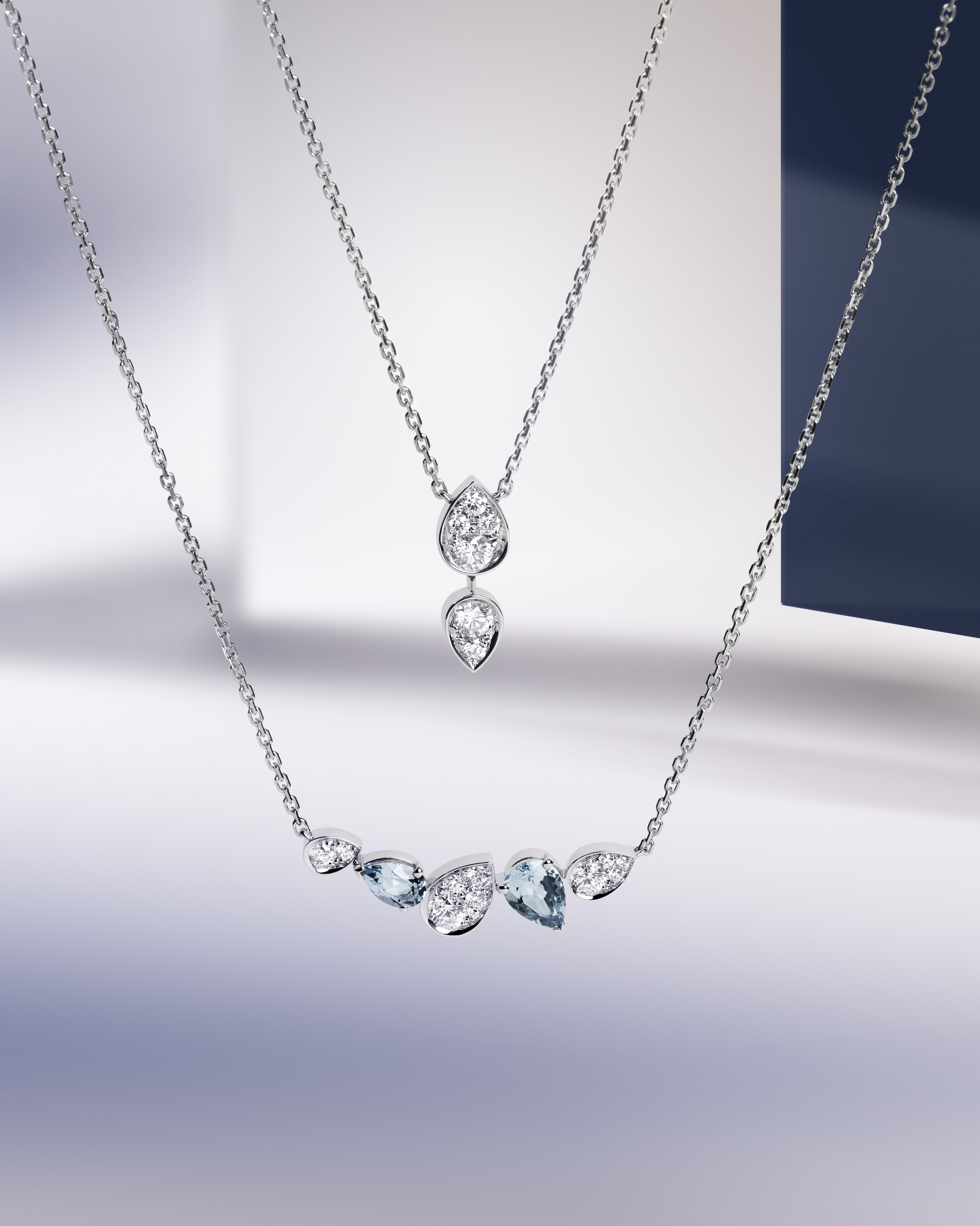 Pendant in white gold with diamonds $33,300 Pendant in white gold with diamonds and Aquamarines $39,100 All from Chaumet Joséphine Ronde d'Aigrettes collection