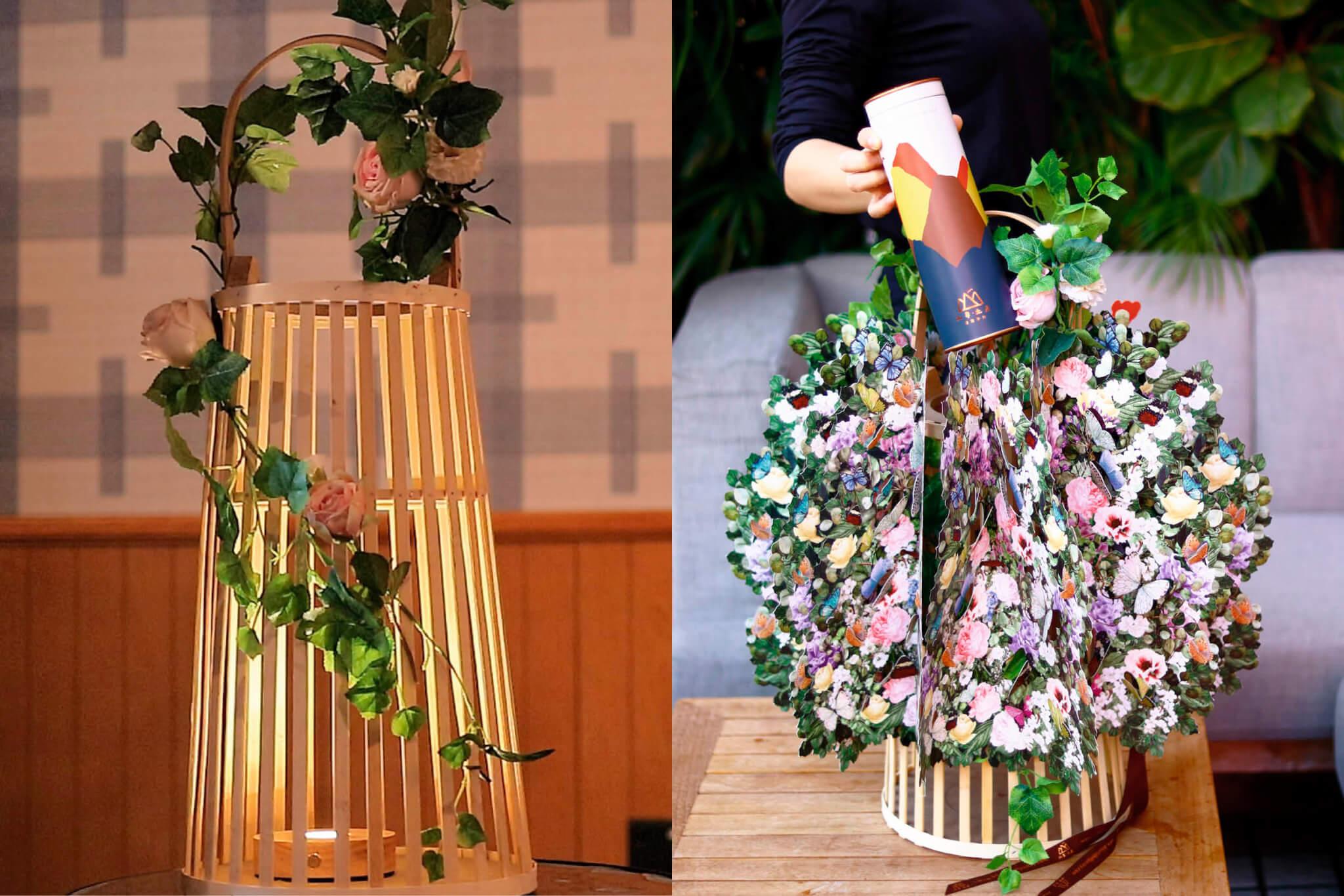 山幸經典禮物籃 // 情人節限定,內有齊三種口味的蝴蝶酥,並配有花飾及燭燈。($1180)