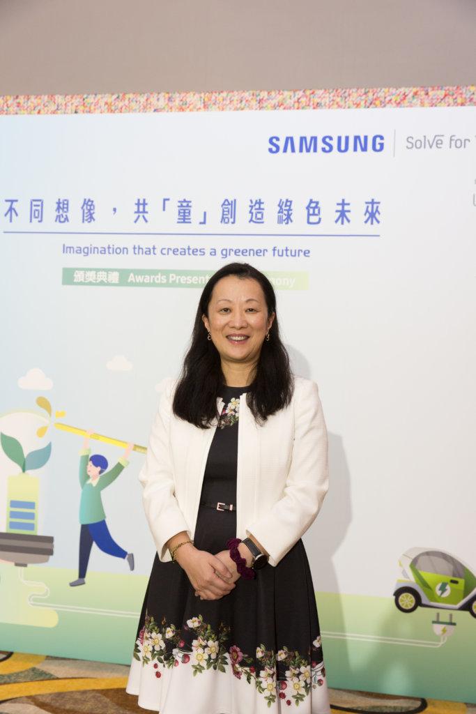 三星電子香港有限公司董事總經理趙依音認為教育能為人們建立正確心態,是實踐綠色城市的重要一步。
