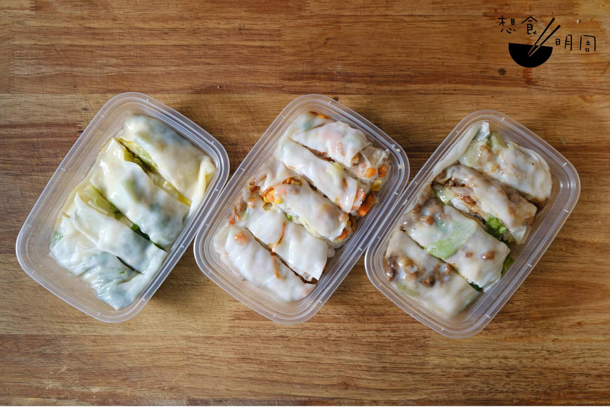 左起:生菜雞蛋腸($18)、蟲草花上素腸($25)、西班牙照燒黑豚肉腸 ($28)