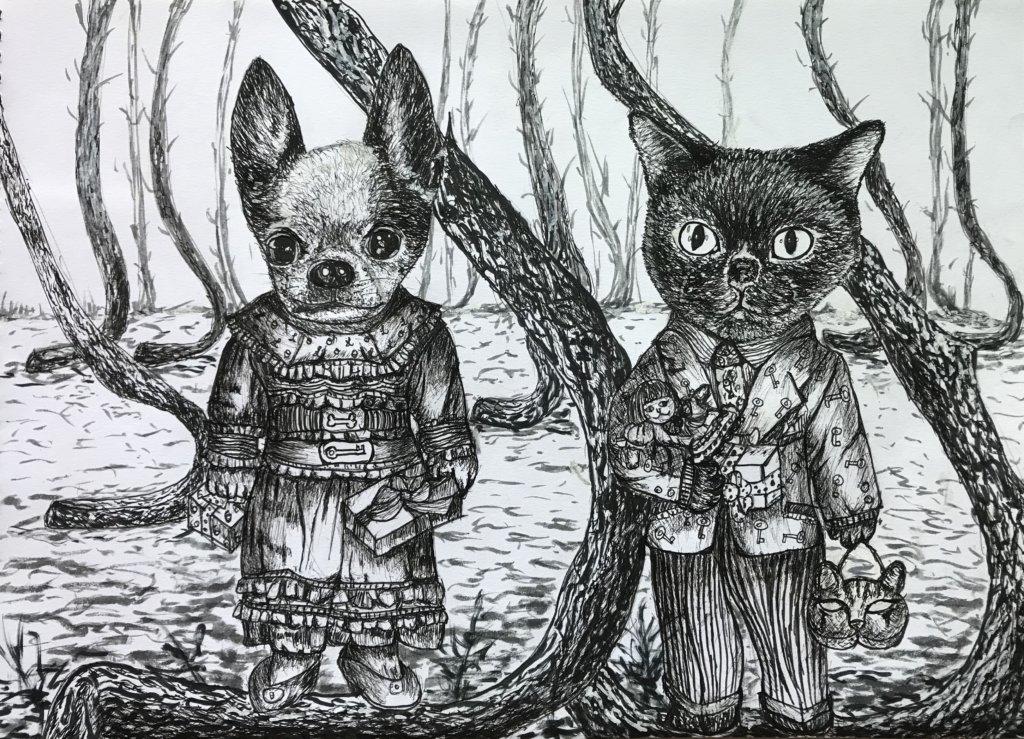 她的畫中,細佬和貓星在一起。