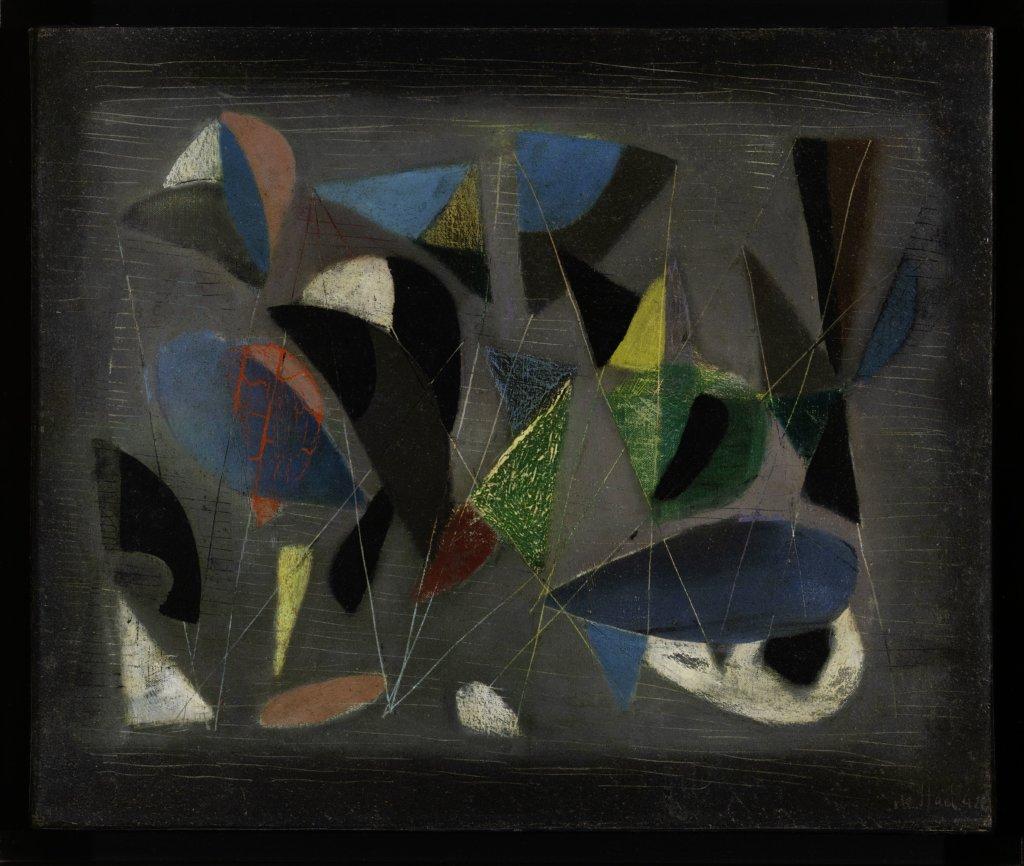 以自殺終結一生的Nicolas de Staël一九四二年作品《Composition》也在《新巴黎畫派》展覽展出