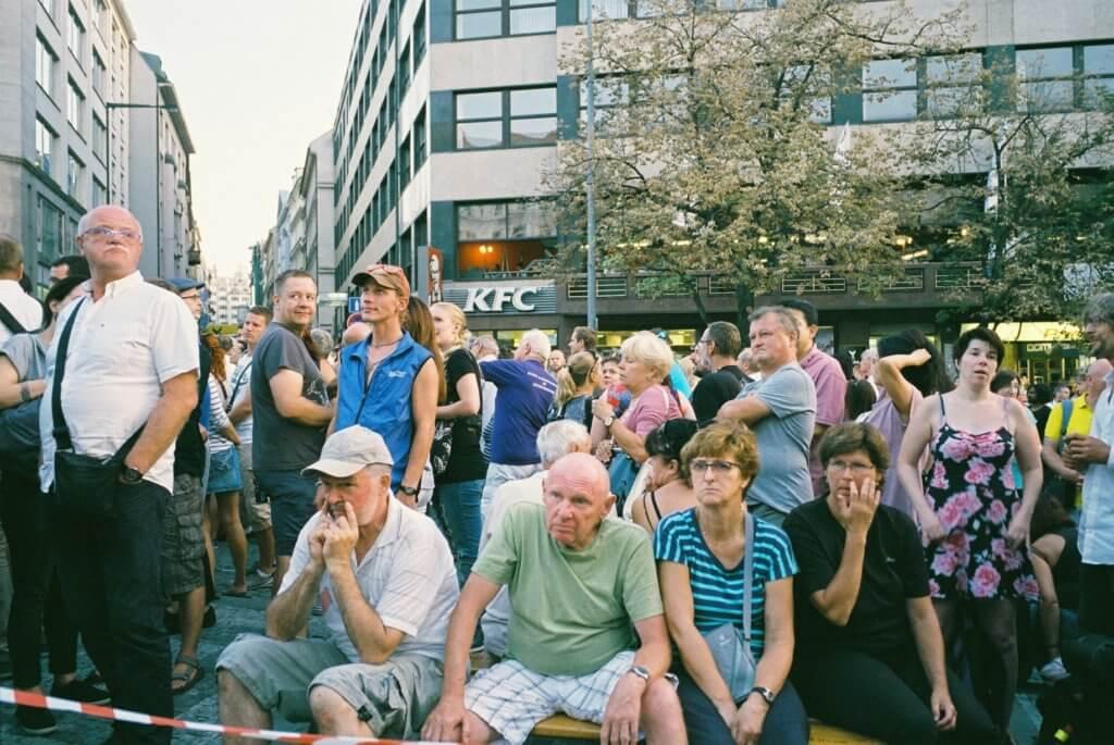 布拉格之春五十周年紀念活動,溫塞斯拉斯廣場聚集人群。(攝影:甄梓鈴)