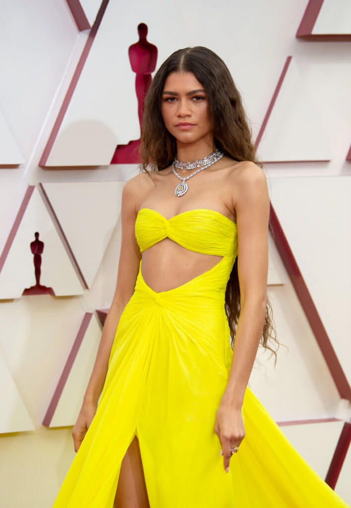 LOS ANGELES, CALIFORNIA – APRIL 25: (EDITORIAL USE ONLY) In this handout photo provided by A.M.P.A.S., Zendaya attends the 93rd Annual Academy Awards at Union Station on April 25, 2021 in Los Angeles, California. (Photo by Matt Petit/A.M.P.A.S. via Getty Images)