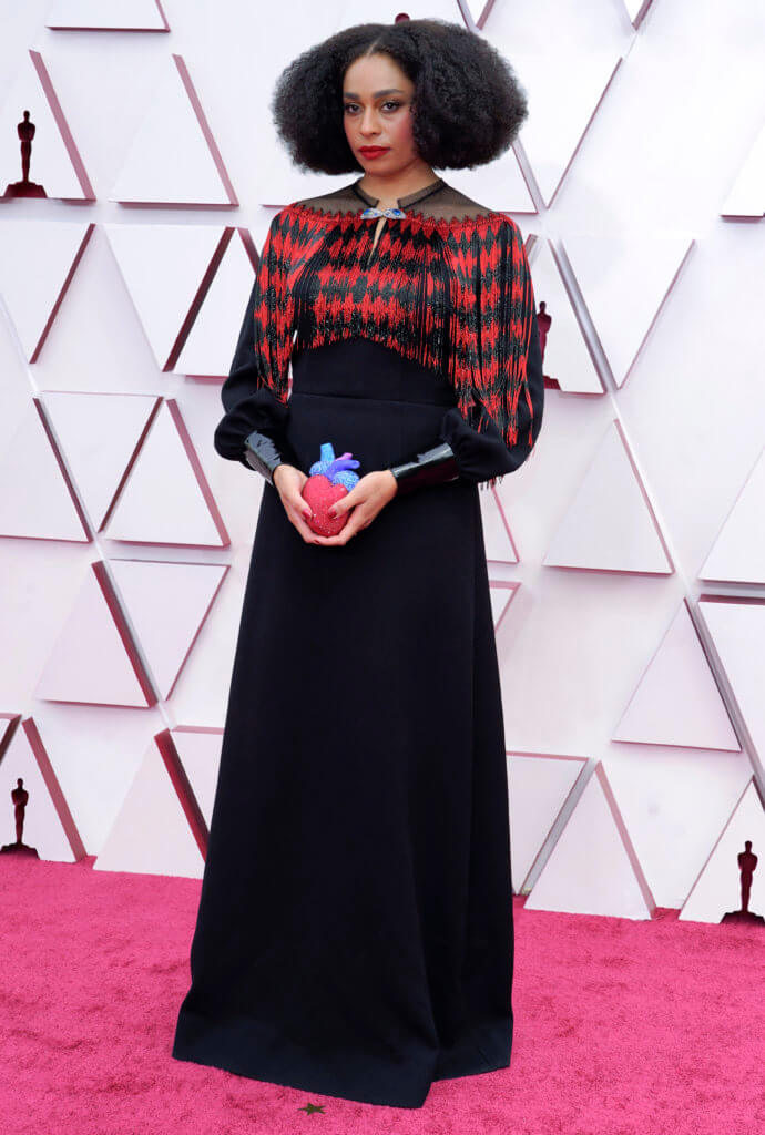 LOS ANGELES, CALIFORNIA – APRIL 25: Celeste Waite, fashion detail, attends the 93rd Annual Academy Awards at Union Station on April 25, 2021 in Los Angeles, California. (Photo by Chris Pizzelo-Pool/Getty Images)