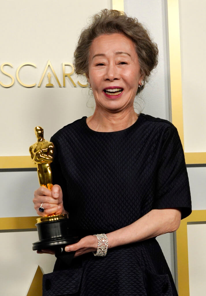 """LOS ANGELES, CALIFORNIA - APRIL 25: Yuh-Jung Youn, winner of Best Actress in a Supporting Role for """"Minari,"""" poses in the press room at the Oscars on Sunday, April 25, 2021, at Union Station in Los Angeles. (Photo by Chris Pizzello-Pool/Getty Images)"""