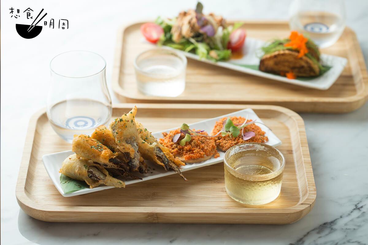 這個sake pairing set包含四款罐頭料理和四杯不同濃度的清酒,超值!($298)