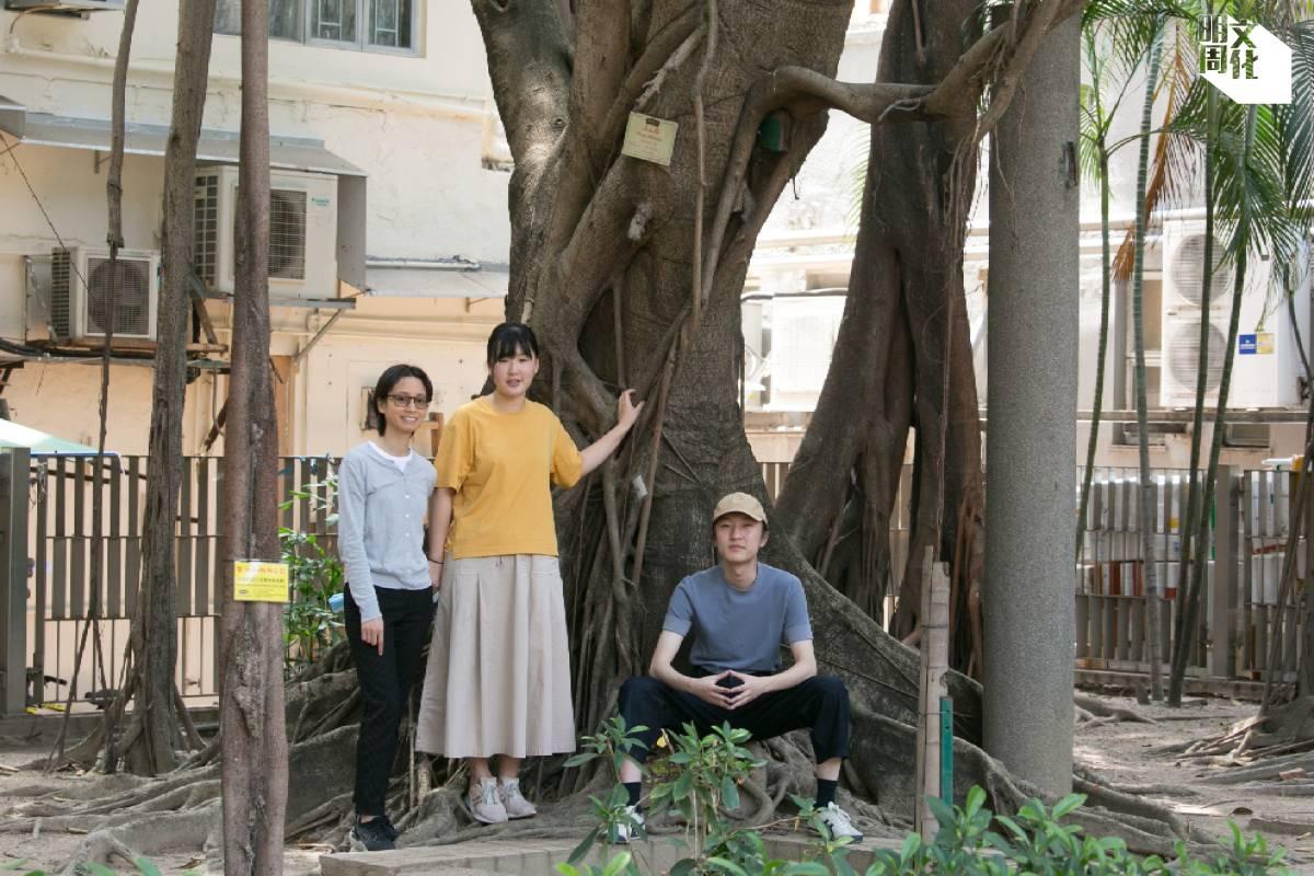 (左起)One Bite Design Studio的項目主任張杏儀(Chloe)和園境設計師郭錦雯(Carmen),以及南豐集團「世界之約」的項目統籌袁嘉駿(Fizen)。