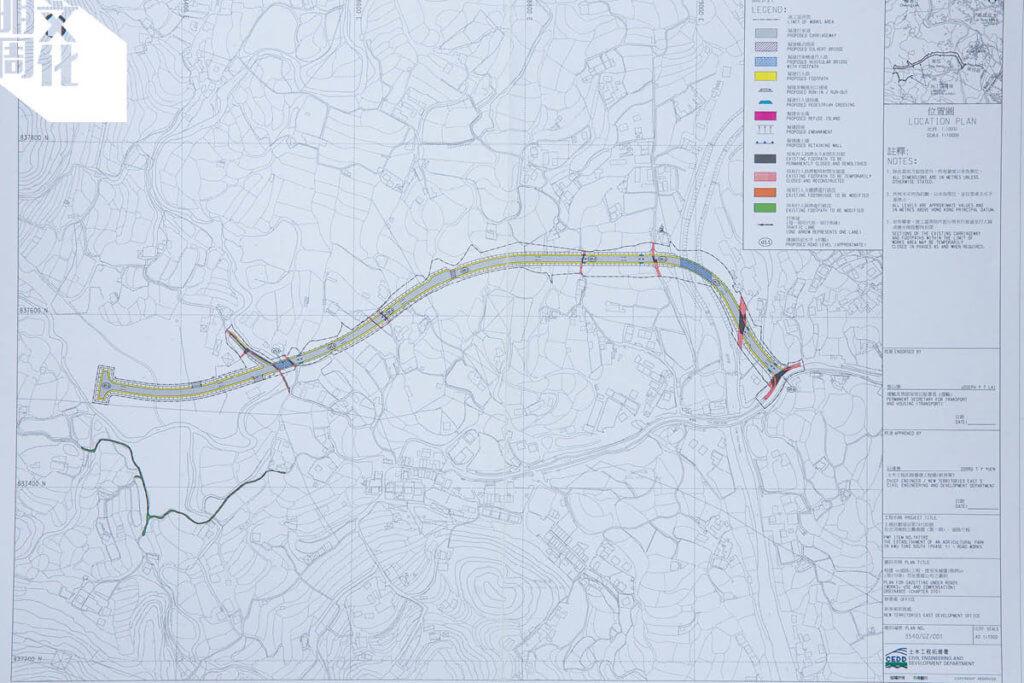 土木工程拓展署在憲報公布之圖則,標記於古洞南設立農業園第一期的道路工程,擬興建新行車道和行人路貫通蕉徑。