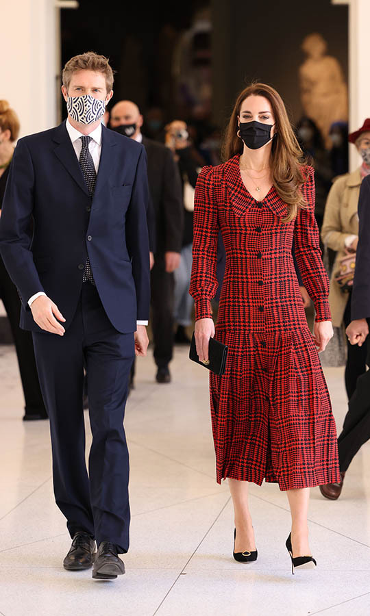 LONDON, ENGLAND - MAY 19: Catherine, Duchess of Cambridge walks with Tristram Hunt, Director, V&A Museum during her visit at The V&A on May 19, 2021 in London, England. (Photo by Jonathan Buckmaster - WPA Pool/Getty Images)