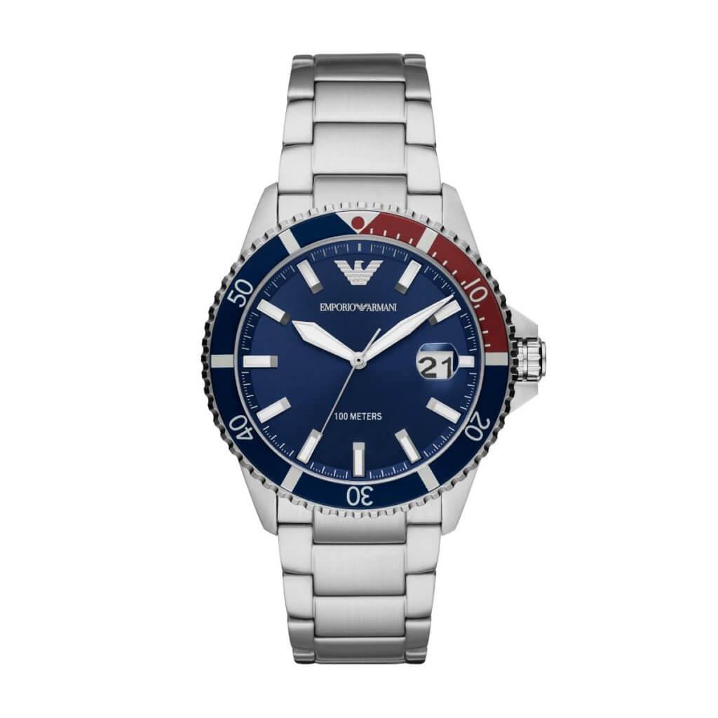 Emporio Armani 海軍藍不銹鋼潛水腕錶 $2,500