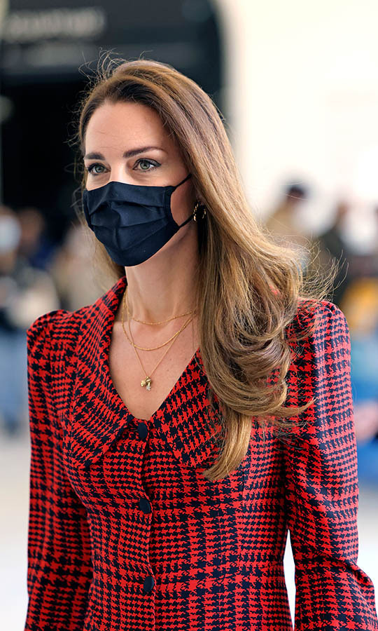 LONDON, ENGLAND - MAY 19: Catherine, Duchess of Cambridge wears a facemask during her visit at The V&A on May 19, 2021 in London, England. (Photo by Jonathan Buckmaster - WPA Pool/Getty Images)