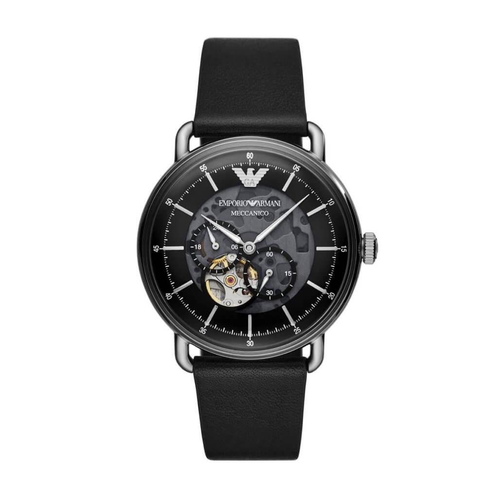 Emporio Armani多功能黑色皮革機械腕錶 $3,800