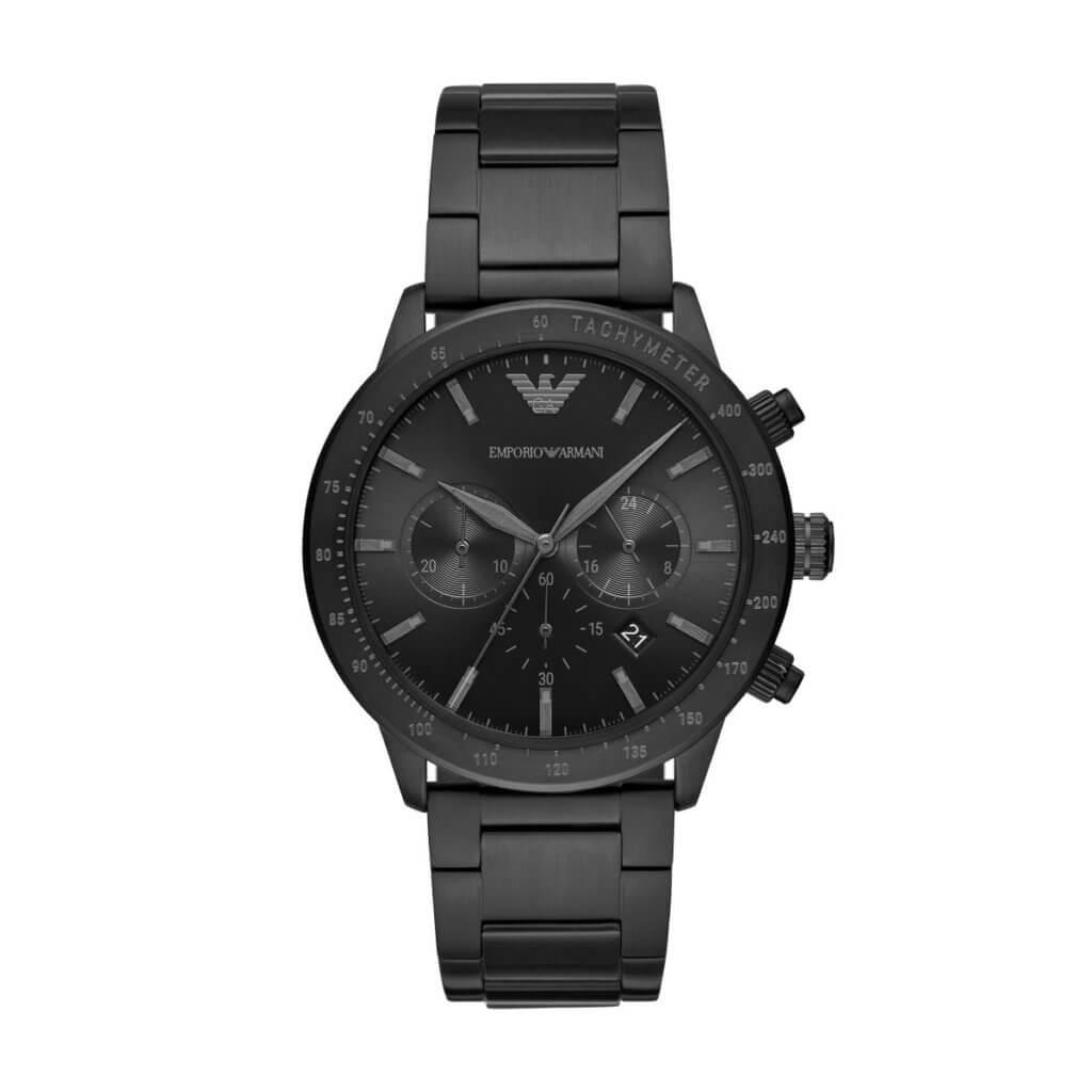 Emporio Armani 黑色不鏽鋼計時碼錶 $3,500