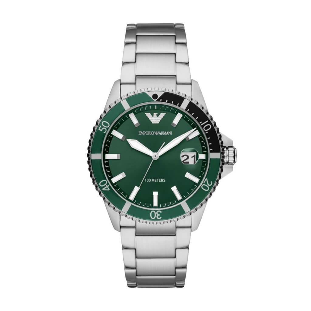 Emporio Armani 深綠色不銹鋼潛水腕錶 $2,500