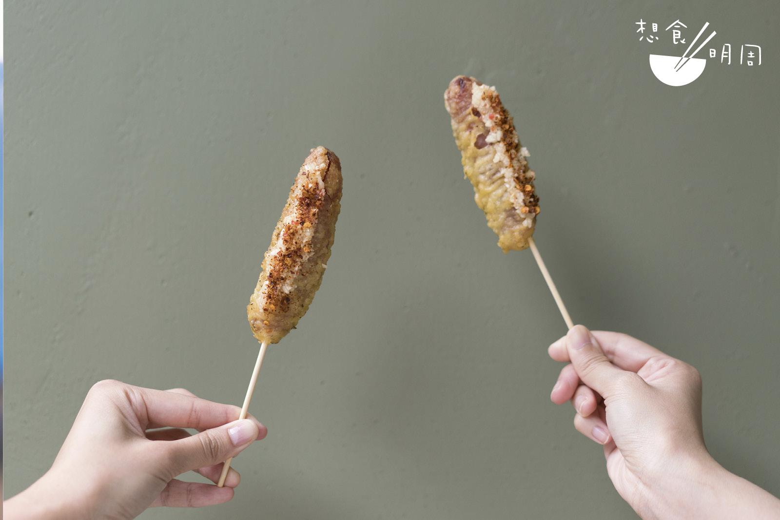 店主極力推介的反而是「脆炸台灣腸」。香腸外層蘸滿天婦羅炸漿,面層舖滿蒜茸和自家製麻辣粉,微辣帶麻勁,正!