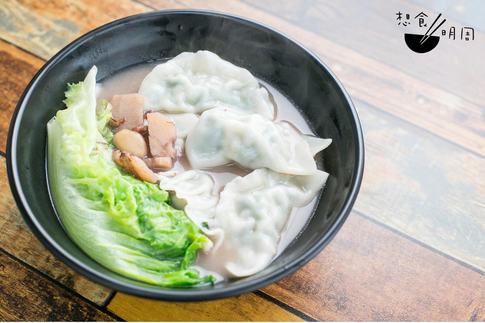 赤小豆粉葛湯配芫荽豬肉餃($36/8隻)