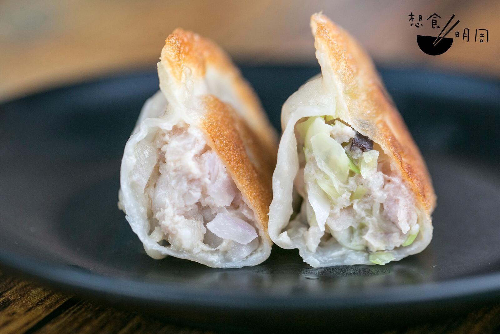 左:洋葱豬肉餃子 右:雪耳椰菜豬肉餃子