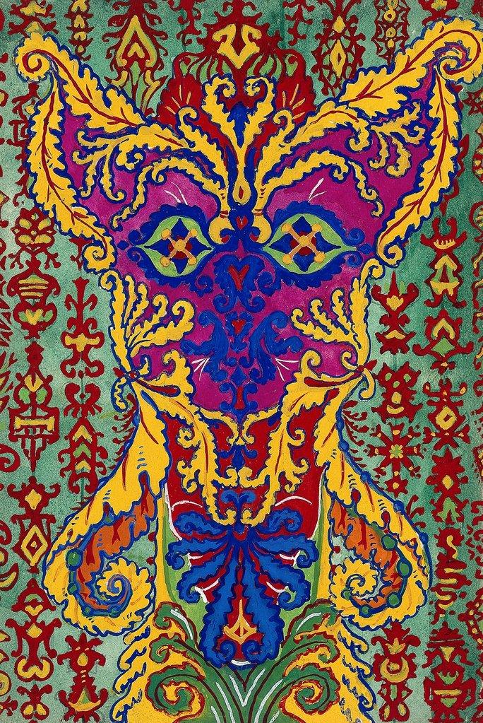 後期,以牆紙與地毯圖案為創作靈感的畫作(網上圖片)