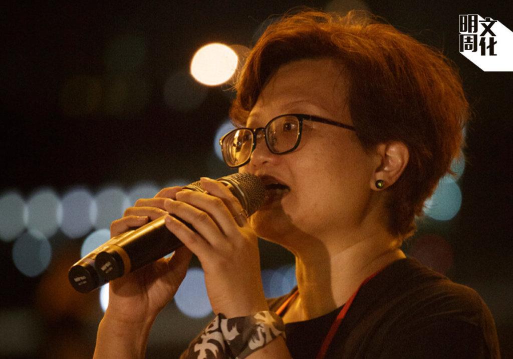 去年鍾慧沁於台北自由廣場辦六四集會。