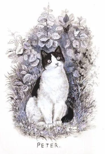 其早期畫作,畫了一生心愛的愛貓。(網上圖片)