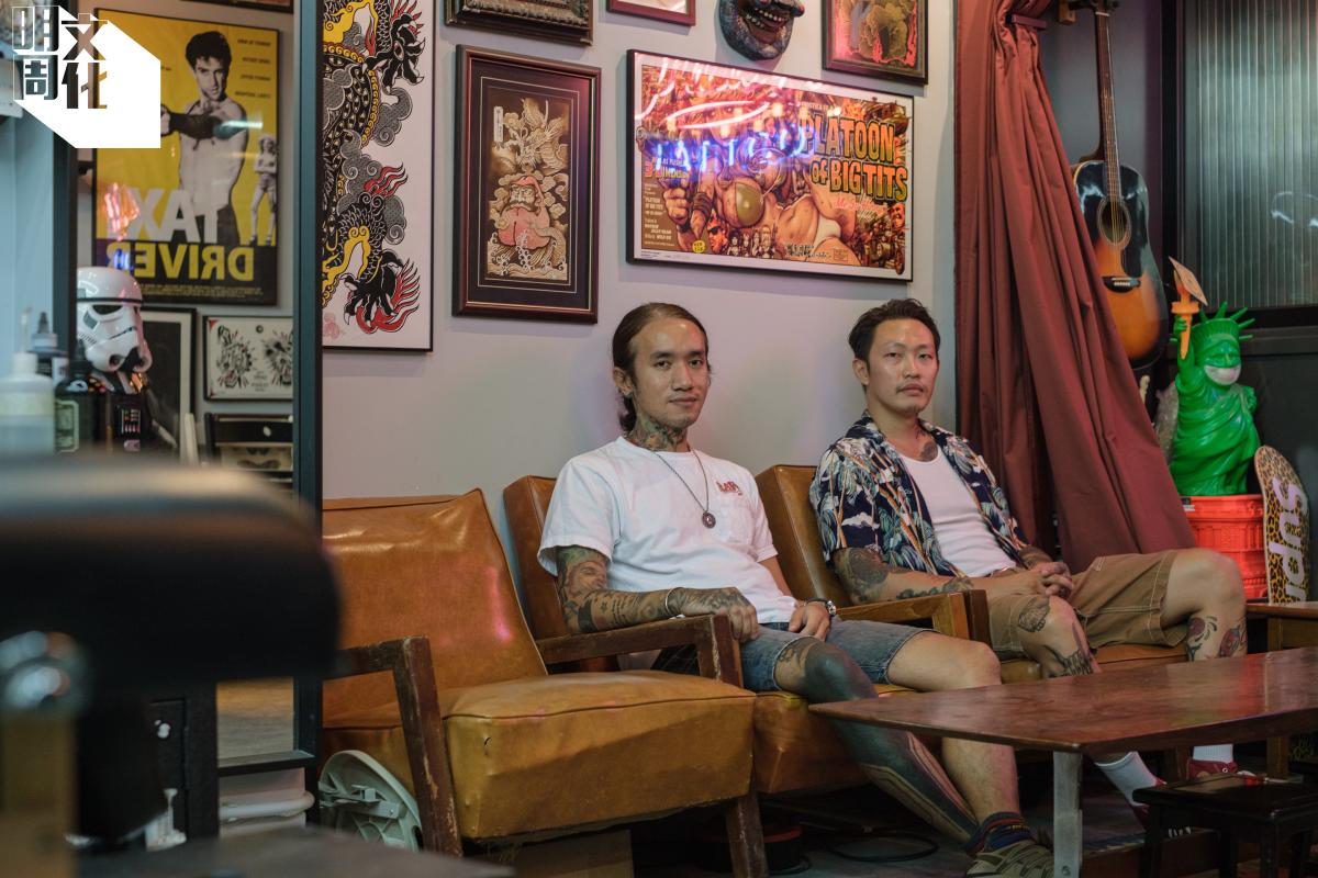 Fridays Tattoos的創辦人Wang(左)及Jamie。能在這裏開地舖,他們覺得是一圓心願,因紋身店多開在樓上或工廈。