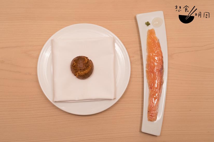 輕咬一口海膽芝士球,再接一口漬櫻鱒魚,梅花間竹,以油潤魚脂伴小點,為一席饗宴揭開序幕。
