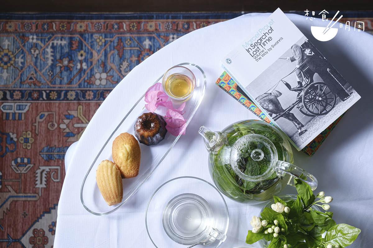 普魯斯特餐//以法式小點為主,有瑪德蓮及可麗露,伴西茶吃簡單而經典。($208/位、$318/兩位)