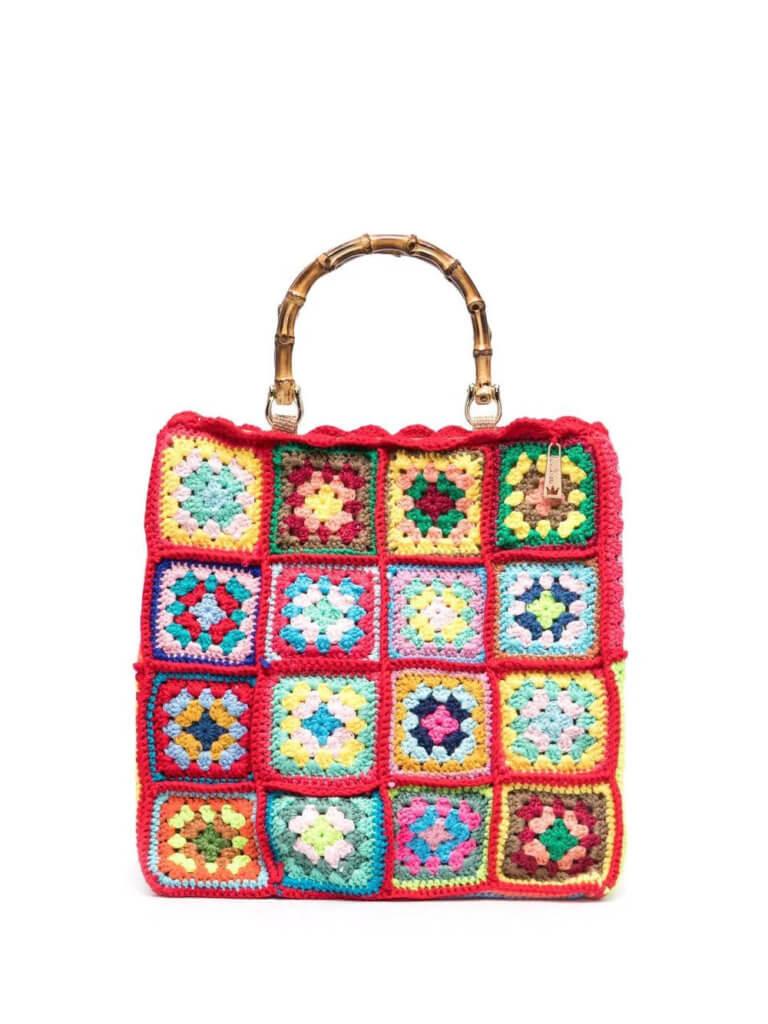 la milanesa square crochet panel bag