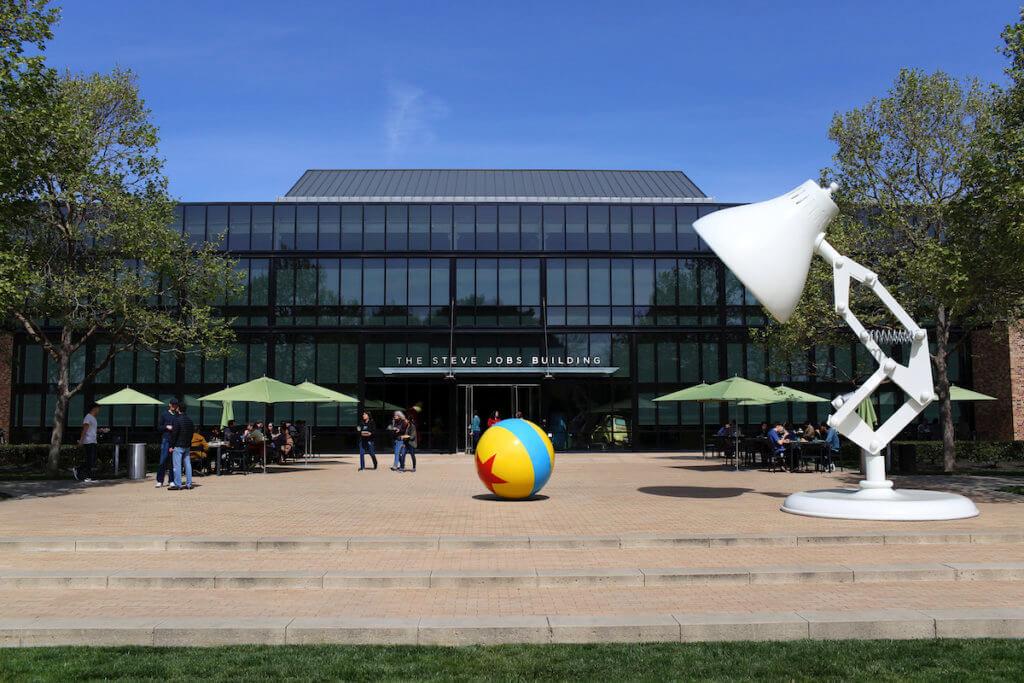 The front of the Steve Jobs building, seen on March 16, 2017 at Pixar Animation Studios in Emeryville, Calif. (Photo by Deborah Coleman / Pixar)