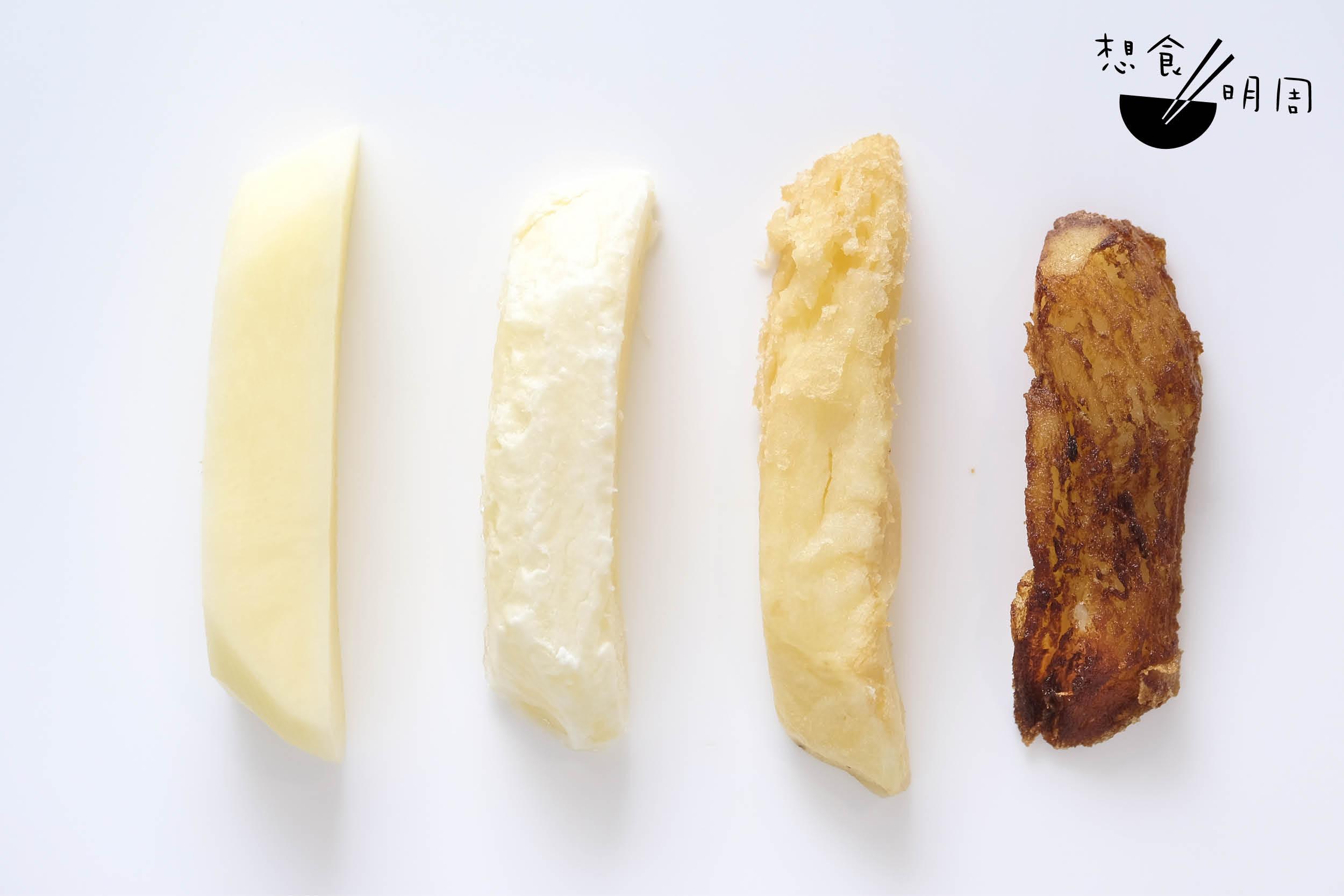 (左至右)1. 鮮薯仔切成粗條;2. 烚煮一次後冷藏;3. 炸起一次;4. 炸起第二次