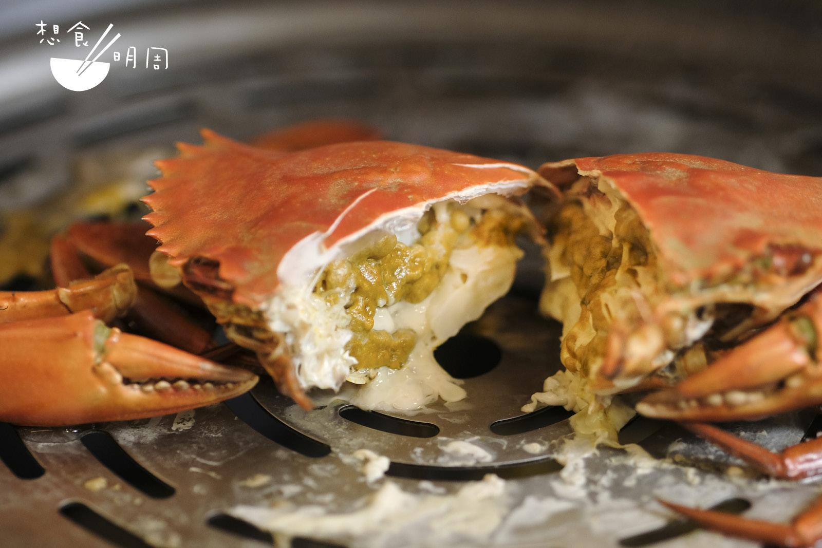 因為餐廳老闆是海鮮批發商,所以才能拿到較大隻的菲律賓大黃奄蟹。