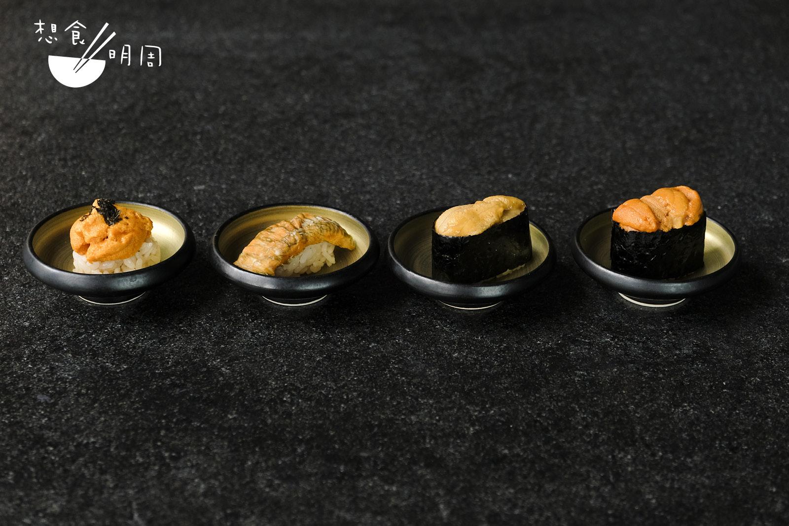「特選海膽壽司」包括鹽水海膽、昆布漬海膽、宮城縣紫海膽和北海道禮文島馬糞海膽。(從左至右)