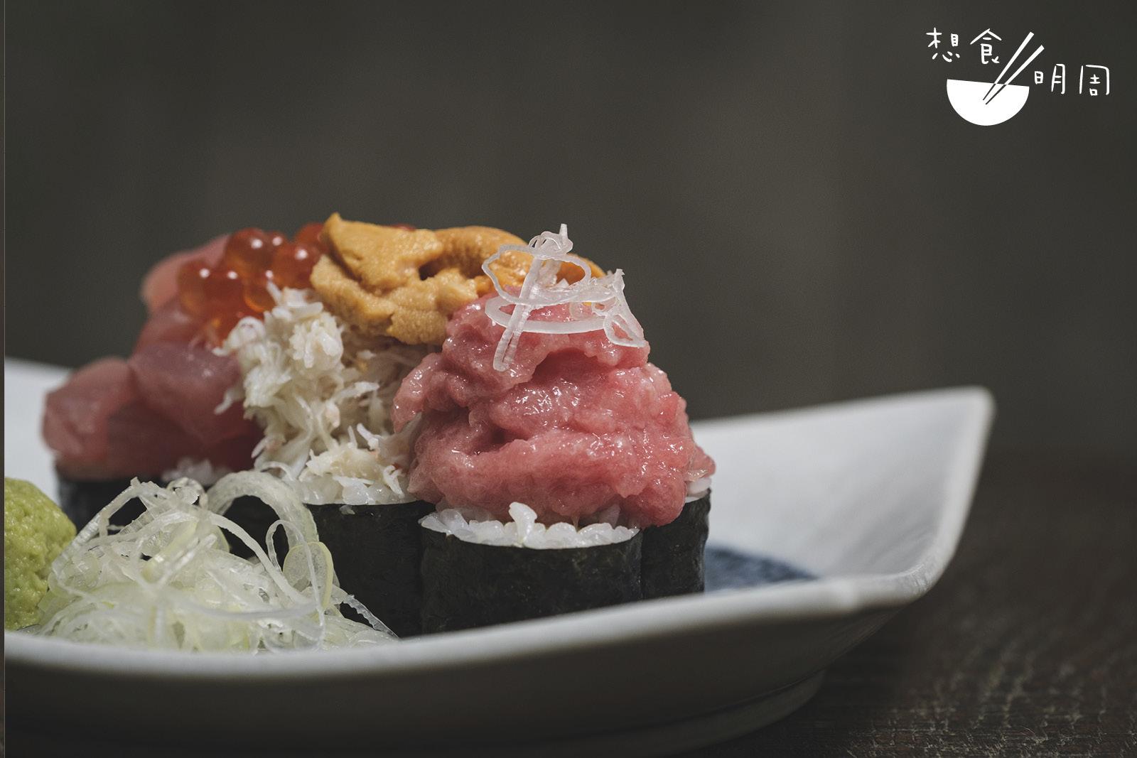 把吞拿魚切角或剁碎成魚蓉配蔥享用,都是江戶時代居酒屋常的菜式。(滿足壽司,$158)