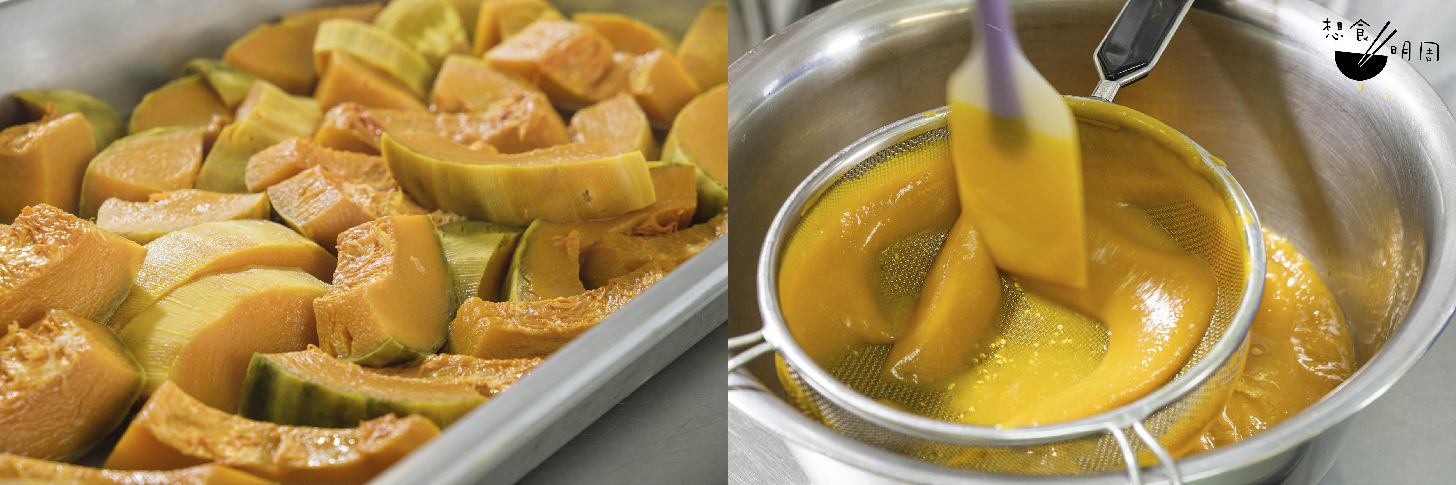 南瓜削皮後蒸起,香噴噴的,難以置信它竟然曾被視為「歪果」。壓成蓉後,即可拌入麵粉之中。