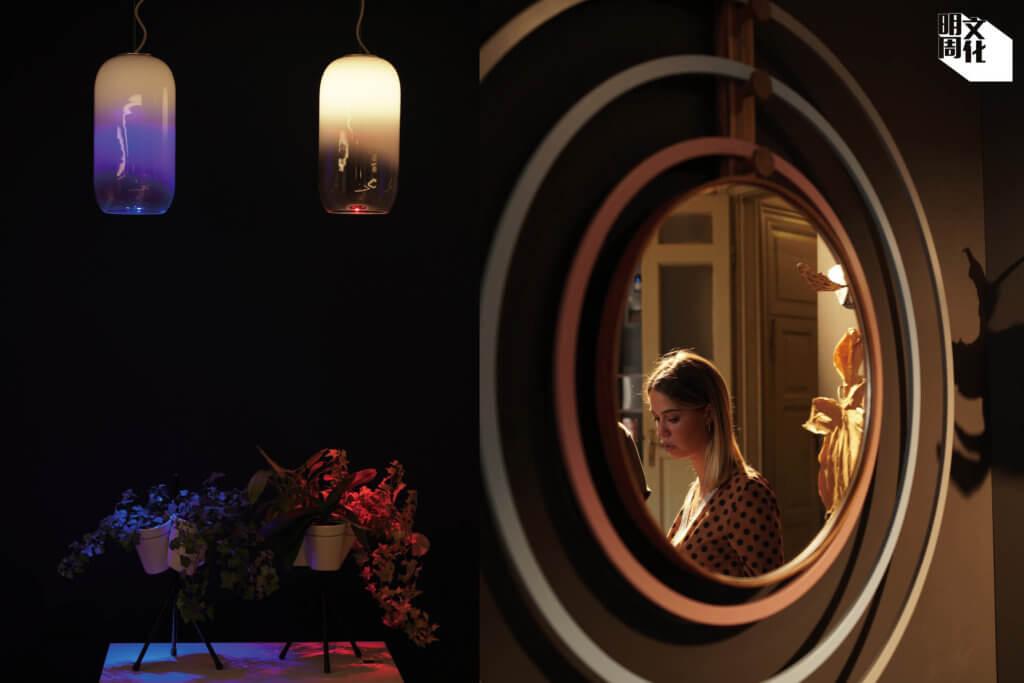 (左)結合鏡子與呼拉圈的作品,由年青意大利設計師Maria Giovanna Barbi及Fabio Brunone,在Orografie計劃協助下設計。 (右) 功能性的產品大行其道。圖為Artemide新的燈光系統。